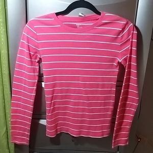 Gap striped pink and white long sleeve tee